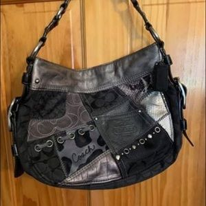 Zoe Patchwork Suede Signature Leather Hobo